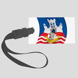 Wavy Beograd Flag Large Luggage Tag