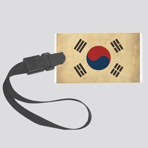 Vintage South Korea Flag Large Luggage Tag
