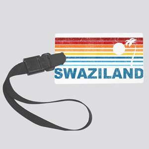 Retro Palm Tree Swaziland Large Luggage Tag