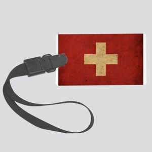 Vintage Switzerland Flag Large Luggage Tag