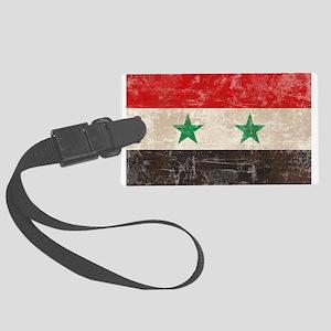Vintage Syria Flag Large Luggage Tag