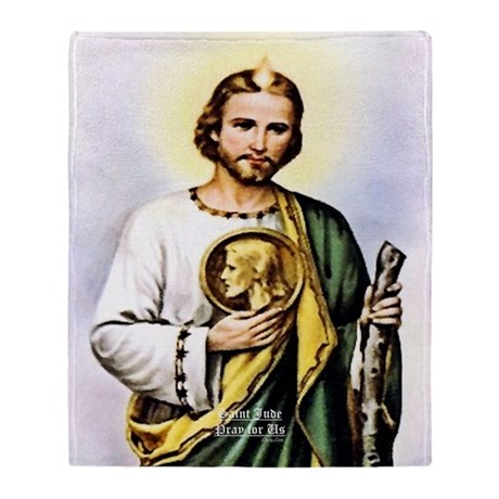 St Jude Pray For Us Olde English Throw Blanket