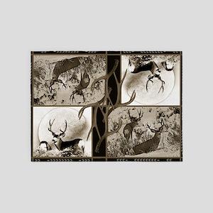 Rustic Mule deer 5'x7'Area Rug