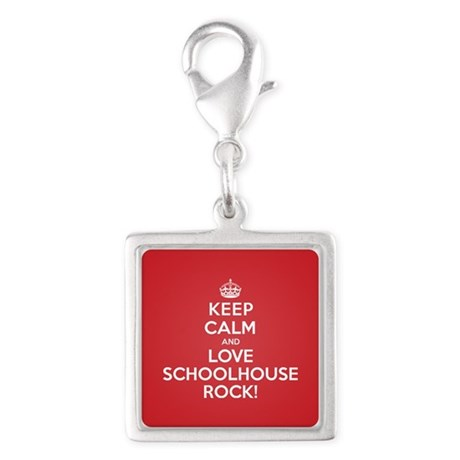 K C Love Schoolhouse Rock Silver Square Charm