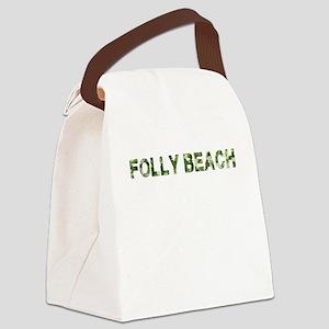 Folly Beach, Vintage Camo, Canvas Lunch Bag