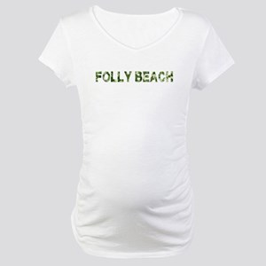 Folly Beach, Vintage Camo, Maternity T-Shirt