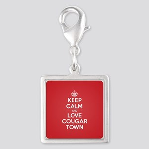 K C Love Cougar Town Silver Square Charm