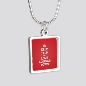 K C Love Cougar Town Silver Square Necklace
