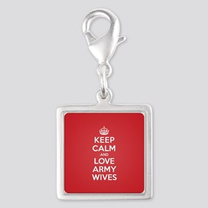 K C Love Army Wives Silver Square Charm