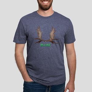 Maine moose rack, 11 X  blk Mens Tri-blend T-Shirt