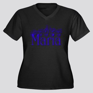 Maria Women's Plus Size V-Neck Dark T-Shirt