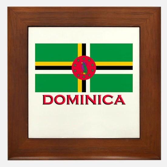 Dominica Flag Gear Framed Tile
