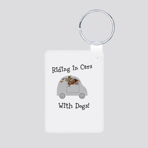 Traveling with dogs Aluminum Photo Keychain