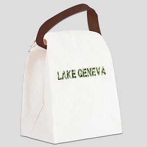 Lake Geneva, Vintage Camo, Canvas Lunch Bag