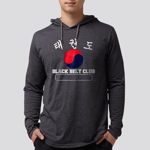 TKD Black Belt Club - White Lett Mens Hooded Shirt