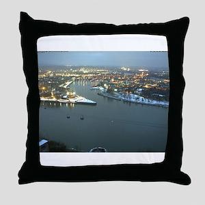 Rhine river & Mosel winter Throw Pillow