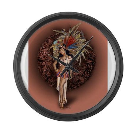 Aztec Princess Pin-Up Large Wall Clock