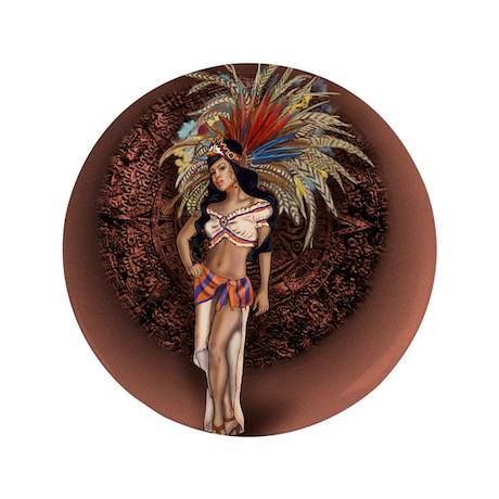 """Aztec Princess Pin-Up 3.5"""" Button (100 pack)"""