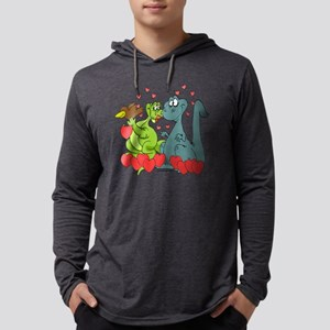 Dinosaur Love Cartoon Graphic Mens Hooded Shirt
