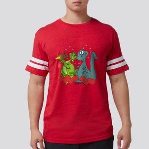 Dinosaur Love Cartoon Graphic Mens Football Shirt