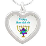 Happy Hanukkah Silver Heart Necklace