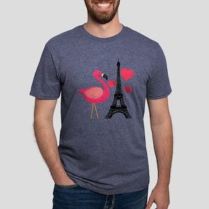 Pink Flamingo in Paris Mens Tri-blend T-Shirt