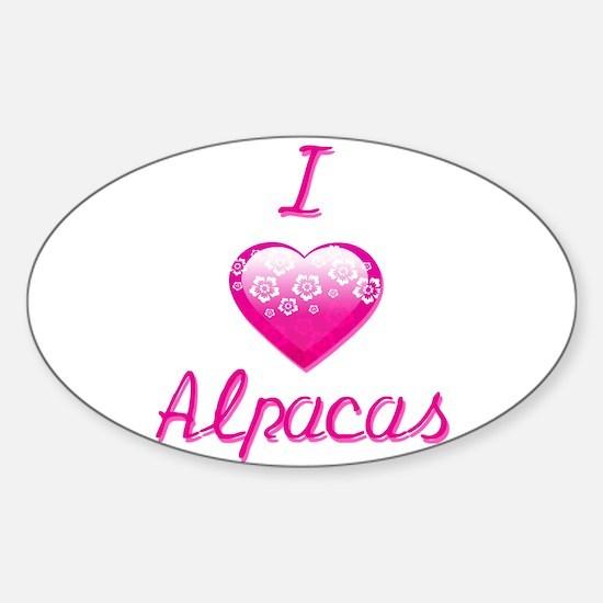 I Love/Heart Alpacas Sticker (Oval)