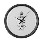 Keep Calm Shred On Large Wall Clock