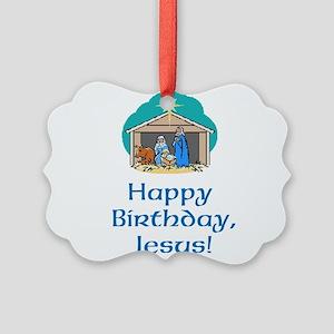 Happy Birthday Jesus Picture Ornament