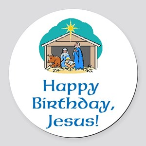 Happy Birthday Jesus Round Car Magnet