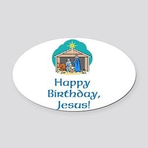 Happy Birthday Jesus Oval Car Magnet