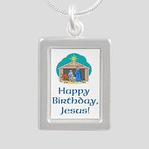 Happy Birthday Jesus Silver Portrait Necklace
