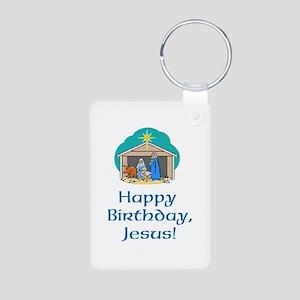 Happy Birthday Jesus Aluminum Photo Keychain