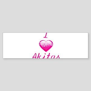 I Love/Heart Akitas Sticker (Bumper)