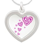 Pink Celtic Hearts Silver Heart Necklace