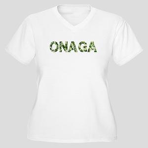 Onaga, Vintage Camo, Women's Plus Size V-Neck T-Sh