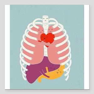 "Hugs Keep Us Alive Square Car Magnet 3"" x 3"""