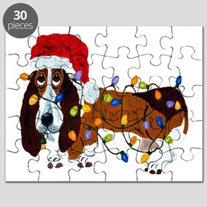 Basset Tangled In Christmas Lights Puzzle