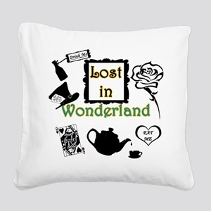 Lost in Wonderland Square Canvas Pillow