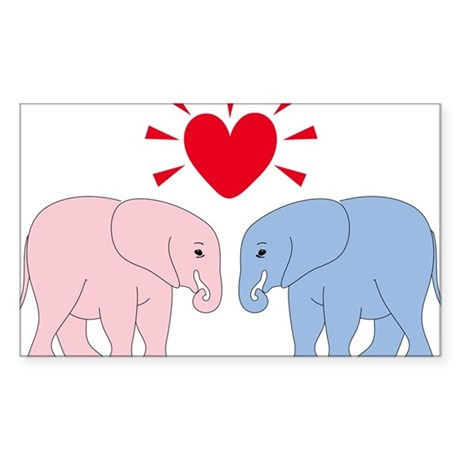 Valentine Elephants Sticker (Rectangle)