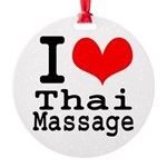 I love Thai Massage Round Ornament