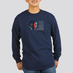 Obama - Red & Blue Long Sleeve Dark T-Shirt