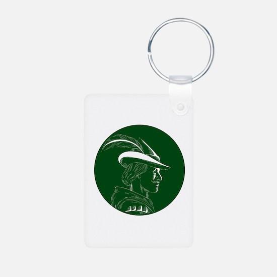 Robin Hood Side Profile Circle Woodcut Keychains