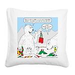 Polar Bear Snack Square Canvas Pillow