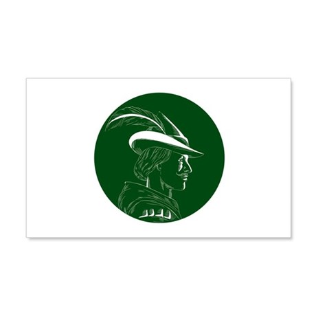 Robin Hood Side Profile Circle Woodcut Wall Decal