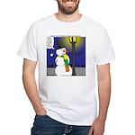 Snowman Scarf White T-Shirt