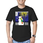 Snowman Scarf Men's Fitted T-Shirt (dark)