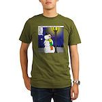 Snowman Scarf Organic Men's T-Shirt (dark)