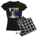 Snowman Scarf Women's Dark Pajamas