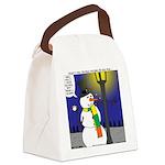 Snowman Scarf Canvas Lunch Bag